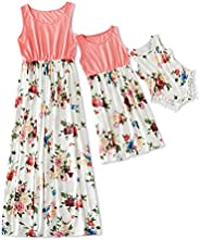 IFFEI Mommy and Me Matching Dress Mother Daughter Sleeveless Casual Tank Floral Printed Maxi Dress