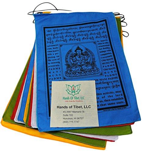 Make Prayer Tibetan Flags (Hands Of Tibet Handmade Buddha of Compassion Prayer flags with English Translation (9x12))