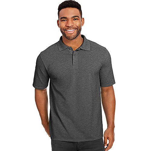 - Hanes X-Temp Men's Pique Polo Shirt_Charcoal Heather_4XL