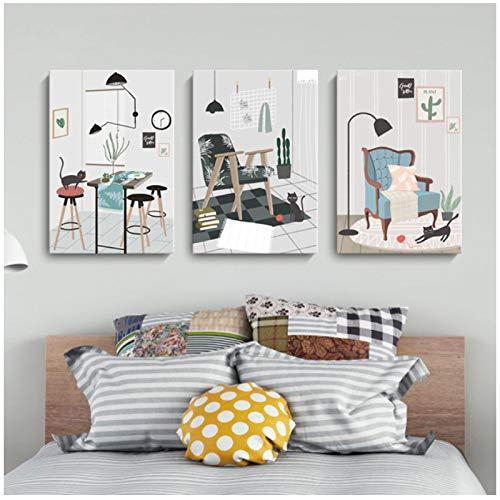 Pintura de la lona Arte de la pared Cartel de dibujos animados Animal Gato Hogar Vida Sofa Mesa de comedor Imagen Imprimir Decoracion para el hogar 60x80cm Acuarela enmarcada