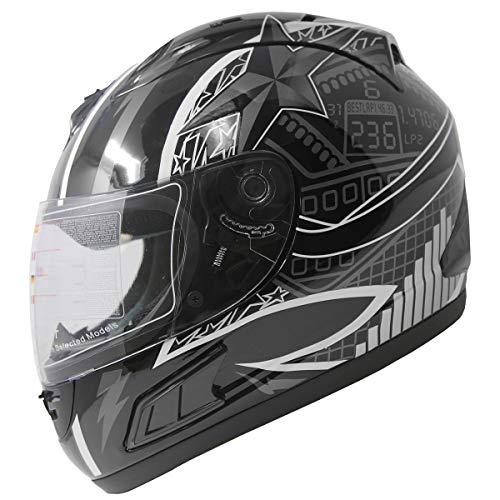 DOT Full Face Motorcycle Sports Bike Helmet (Black_L)
