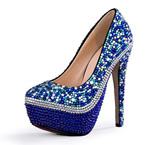 da da Cristallo Donna Scarpe Alto da 14cm Scarpe Scarpe Scarpe da Shiney Banchetto di con Blu Donna Tacco x7ERdzw
