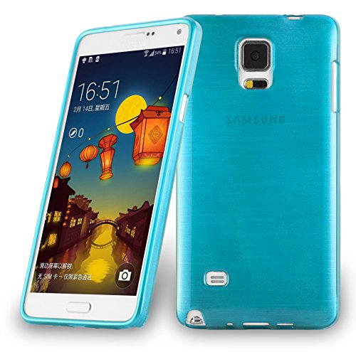 with Samsung Galaxy Note 4 in Turquoise – Shockproof and Scratch Resistant TPU Silicone Cover – Ultra Slim Protective Gel Shell Bumper Back Skin ()
