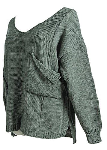 Short Sleeve V-neck Cashmere Sweater - XQS Women's Irregular V Neck Slit Pocket Pullover Sweater Jumpers Green M