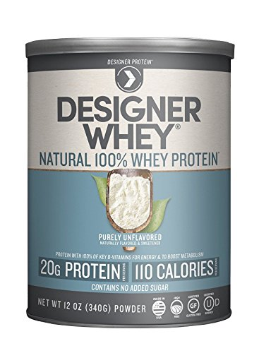 Designer Protein 100% Premium Whey Protein Powder, Purely Unflavored, 12-Ounce Canister (Pack of 2)