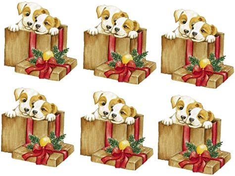 Christmas Puppies in a Christmas Parcel Card Making Toppers Craft Toppers Crafting x 6