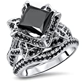 Smjewels 2.9Ct Black Princess Cut CZ Diamond Lotus Flower Engagement Ring Set In White Gold Fn