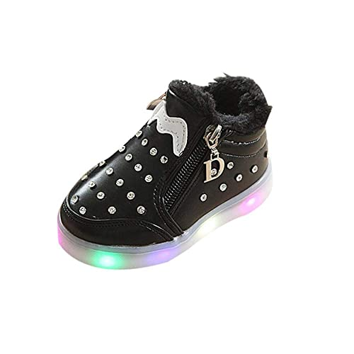 DEESEE(TM) Baby Shoes Winter Children Slippers Unisex Baby Zip Crystal LED  Light Up 1cff675f2198