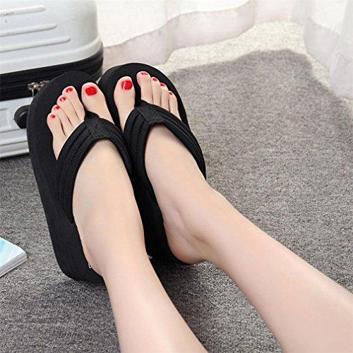 ♬GongzhuMM Sandales Femmes Compensées Tongs Femmes À Fond épais Slippers Chaussures de Plage Femmes Flip Flops Sandales Talon 5cm Taille CN37-40 (EU36-39) Noir vgUgb