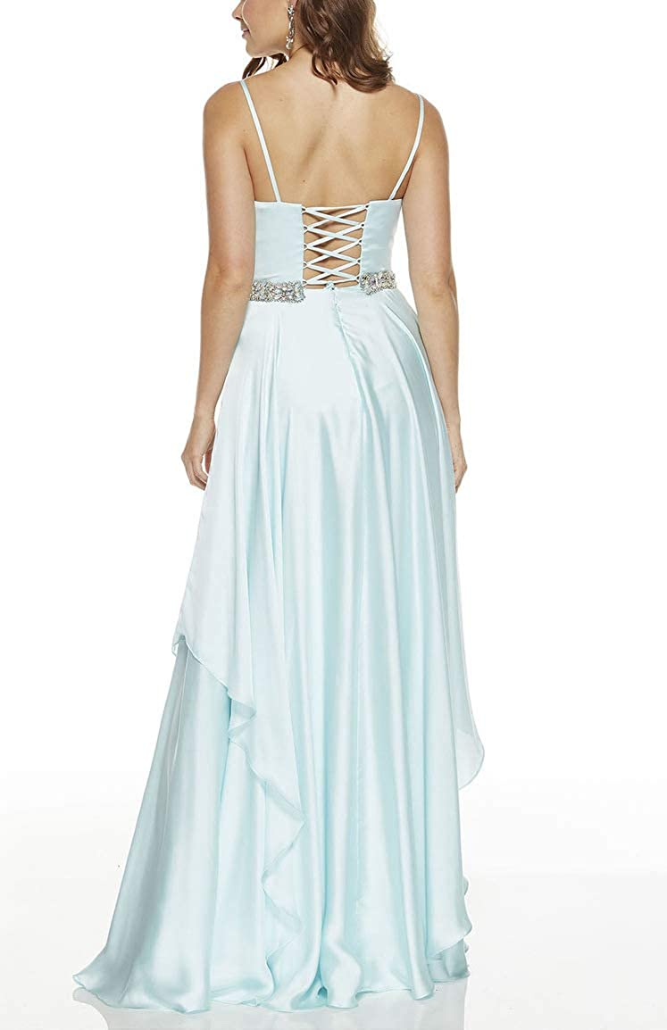 Spaghetti Prom Dresses Long V-Neck Beaded Belt Tiered Formal Evening Gowns for Women Purple