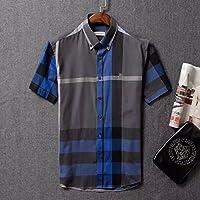 Authentic Burberry Men's Classic Fine Check Cotton Short Sleeve Casual Shirt