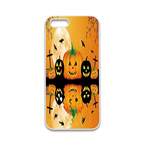 2D Print Phone Case Compatible with iPhone5 iPhone5s White Edge,Halloween Decorations,Spooky Carved Halloween Pumpkin Full Moon with Bats and Grave Lake,Orange Black,Customized 2D Print Phone Case -