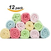 "Maypluss Organic Bamboo Washcloths Ultra Soft & Absorbent Towels for Sensitive Baby Skin-12 Pack 10"" X 10"" Excellent Baby Shower / Registry Gift"