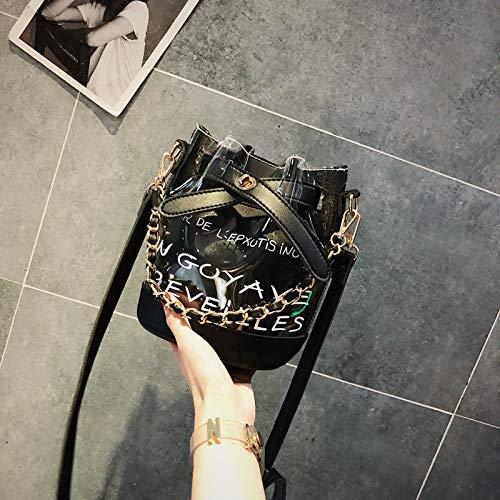 Transparent de Seau Sauvage Diagonale WSLMHH Version de fée Petit épaule Paquet Sac épaule féminine coréenne Main la Sac marée Noir été YBpftpq