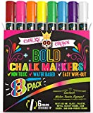 Liquid Chalk Markers for Blackboards - Bold Color Dry Erase Marker Pens - Chalk Markers for Chalkboards Signs, Windows, Blackboard, Glass - 6mm Reversible Tip (8 Pack) - 24 Chalkboard Labels Included: more info