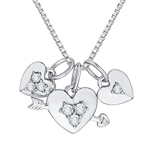 Diamond Three Heart and Arrow Pendant Necklace in Sterling Silver (1/3 cttw, Color GH, Clarity I2-I3) ()
