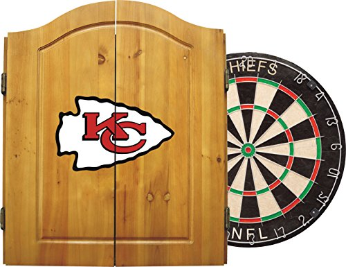 Imperial Officially Licensed NFL Merchandise: Dart Cabinet Set with Steel Tip Bristle Dartboard and Darts, Kansas City Chiefs
