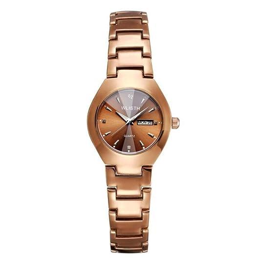 Relojes para Parejas Relojes de Cuarzo Banda de Acero, Mujer E: Amazon.es: Relojes