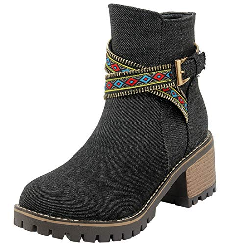 Vitalo Denim Mid Zip Boots Booties Black Chunky Buckle Ankle up Womens Heel rgHUrq
