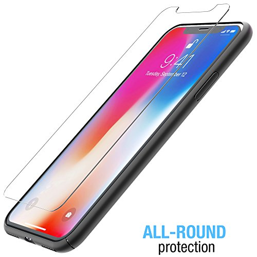 iPhone X case, FlexGear 360 Slim Hard Case w Soft Touch Coating + Glass Screen Protector (Matte Black) Photo #6