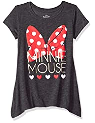 Disney Big Girls\' Minnie Mouse Sharkbite Tee, Heather Black,...