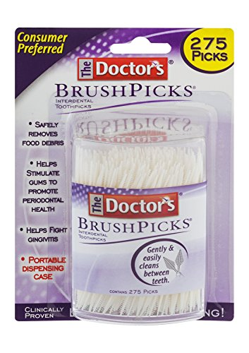 The Doctor's BrushPicks Interdental Toothpicks | Helps Fight Gingivitis | 275 Picks | Pack of - Brush Dental
