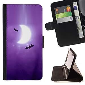 Momo Phone Case / Flip Funda de Cuero Case Cover - Murciélagos Arte Dibujo púrpura de la luna de la Media Luna - Samsung Galaxy E5 E500