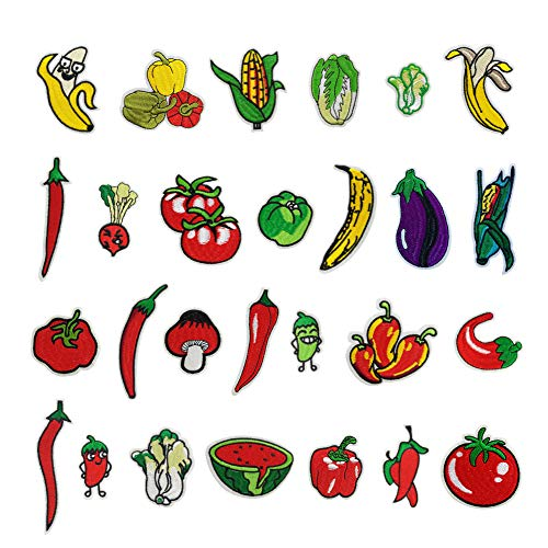 27 Set Vegetable Fruit Iron On Patches, Assorted Color Applique Embroidered Badge Sew On Patch for Decor and Repair Crafts, Jackets, Jeans, Backpacks ()