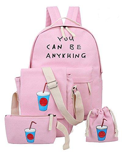 YiLianDa Niña Bolsa de Lona Moda Set de 4 Piezas Mochila + Bolso de Bandolera + Billetera + Pequeño Bolsillo Mochilas Mujer Para Escolar Rosa