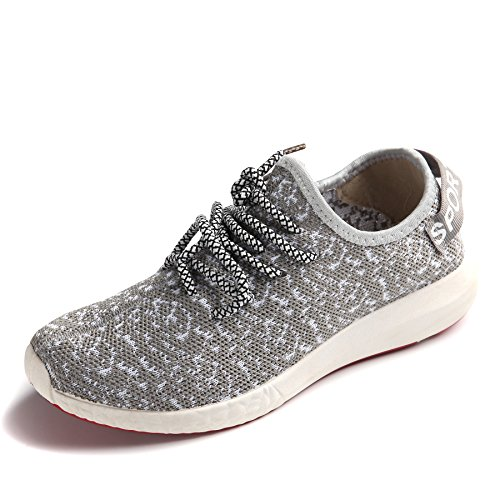JARLIF Women's Canvas Walking Sneakers - Breathable Running Shoes Gray US7.5