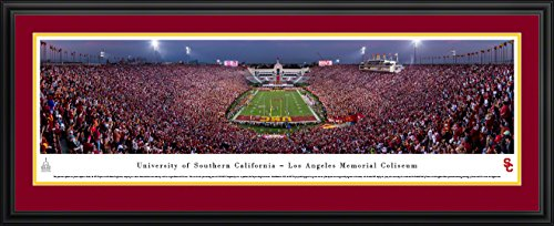 USC Trojans Football - End Zone - Double Mat, Deluxe Framed Print by Blakeway Panoramas (Memorial Stadium Panoramic Print)