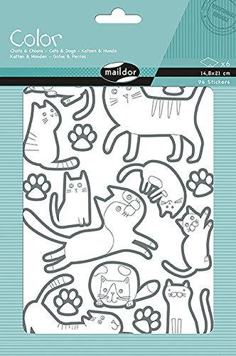 Maildor Color Stickers - Cats and Dogs, Pack of 6 Sheets, Paper, Multicoloured, 24 x 16 x 0.4 cm]()