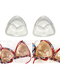 1Pair Gel Triangle Bra Inserts Breast Chest Swimsuit Pads Enhancers Push-up Molding Pad A to D Cup for Bikini (Transparent)