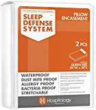 Hospitology Sleep Defense System Waterproof / Dust Mite Proof Pillow Encasement, Set of 2, 20-Inch by 30-Inch, Queen