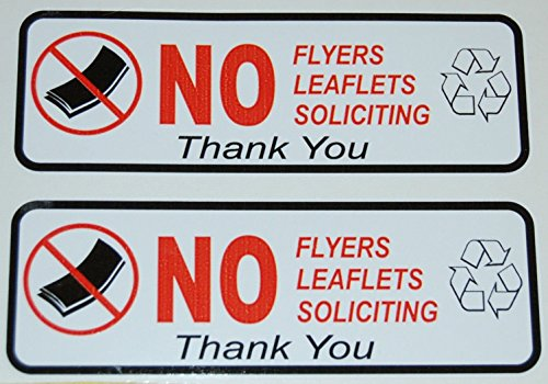 2Pcs Vinyl Security Stickers NO Flyers Soliciting Papers Outdoor - Illest Sunglasses
