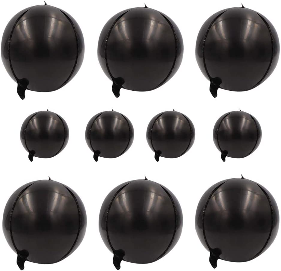 Large 22inch Black Orbz Balloons Decorations-360 Degree Round Balloons 4D Sphere Mylar Foil for Baby Shower,Wedding,Bachelorette,Birthday Party Supplies