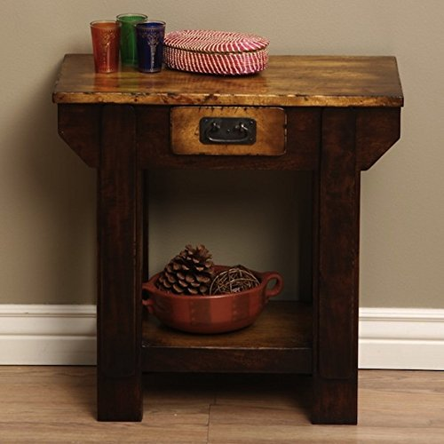 Traditional Brown Wooden Living Room End Table (Indonesia) by Blacksmith