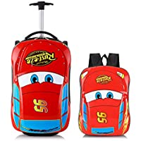 Car Kid's Travel Luggage suitcase Childred Trolley Case Cartoon Rolling Bag for School Kids Trolley Bag on wheels…