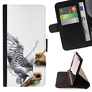 DEVIL CASE - FOR Apple Iphone 5 / 5S - Eagle Art Drawing Pencil 3D Big Bird Fly - Style PU Leather Case Wallet Flip Stand Flap Closure Cover
