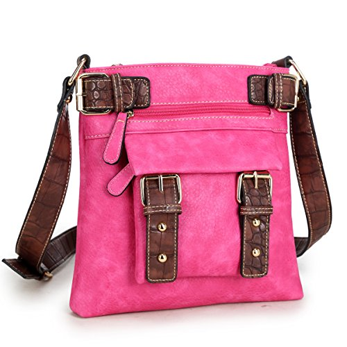 Pink Cross Body (Dasein Top Belted Crossbody Bags for Women Soft Leather Messenger Bag Shoulder Bag Travel Purse)