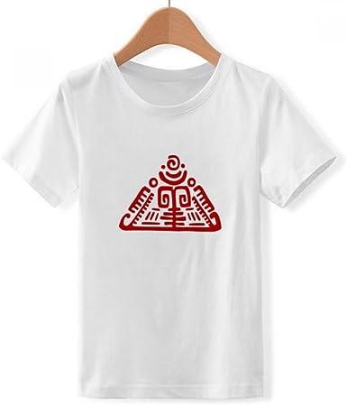 DIYthinker Tótems pirámide Mexicana Antigua civilización de Cuello Redondo Camiseta para Chico: Amazon.es: Ropa y accesorios