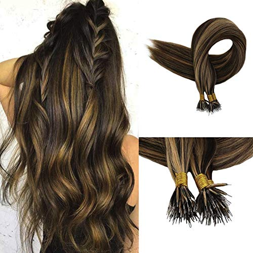 Full Shine 18 inch 50 Strand Per Package 0.8g Per Strand Nano Beads Hair Extensions Balayage Highlight Color #3 Darker Brown and #27 Honey Blonde Pre Bonded Human Hair
