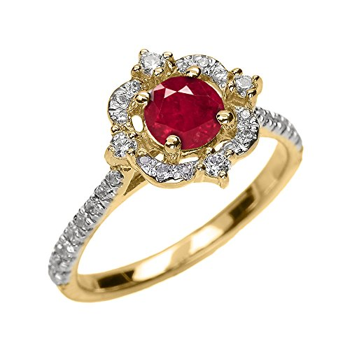 Bague Femme/ Bague De Fiançailles 10 Ct Or Jaune Véritable Rubis Et Diamant