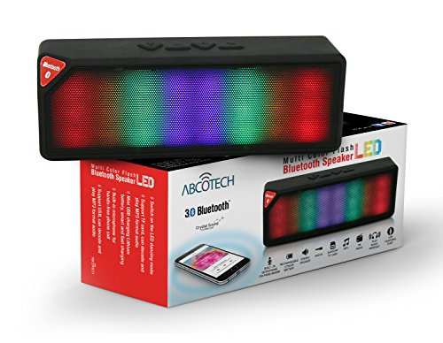 Led Bluetooth Speaker By Abco Tech - Multicolor Flashing Led Lights Speaker with Premium Sound Quality - Fm Radio and Aux