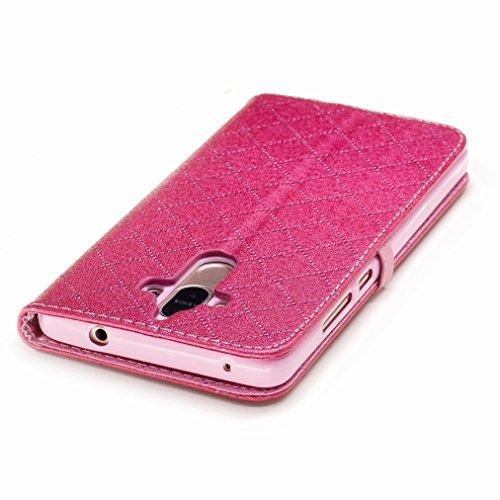 Yiizy Huawei Mate 9 Custodia Cover, Amare Design Sottile Flip Portafoglio PU Pelle Cuoio Copertura Shell Case Slot Schede Cavalletto Stile Libro Bumper Protettivo Borsa (Rose Red)