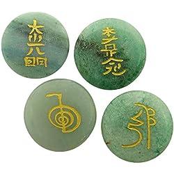 Harmonize Round Shape Lots Of 4 Pcs Nephrite Jade Reiki Healing Crystals Karuna Symbol
