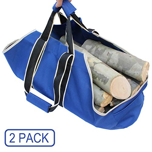 (Gardzen 2-Pack Large Canvas Log Carrier Double Handles- Heavy Duty Dust-Proof Firewood Tote Bag - Fireplace Wood Stove Accessories - Best Firewood Holder Carrying Wood)