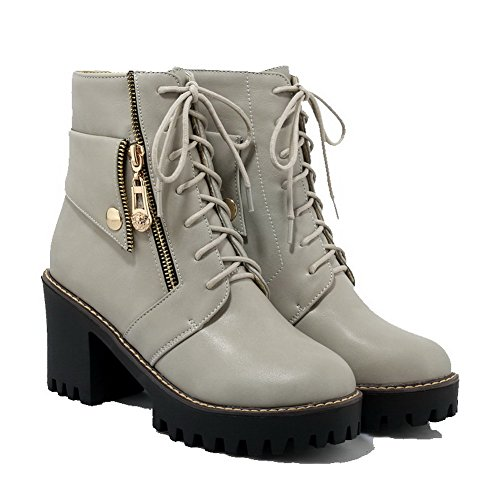 Round Toe Women's Heels up Lace Closed PU Gray Solid Allhqfashion High Boots IYq6pYw