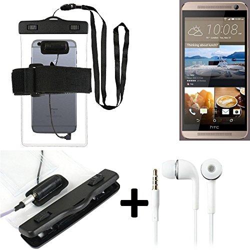 Estuche estanco al agua con entrada de auriculares para HTC One E9 + auricular incluido, transparente   Trotar bolsa de playa al aire libre caja brazalete del teléfono caso de cáscara bajo playa - K-S