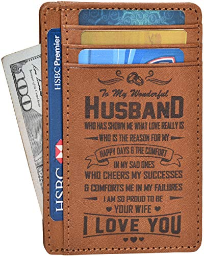 Birthday Gifts for Husband from Wife - Brown Leather Slim Personalized Wallet